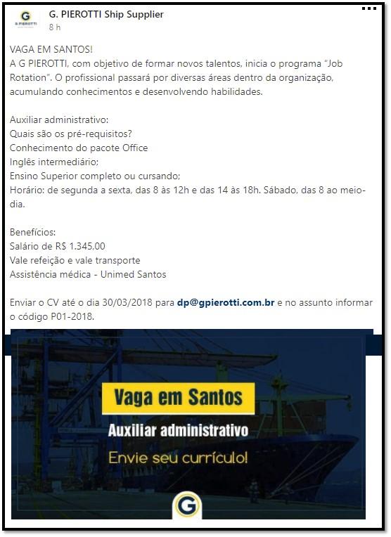 Notícia: Vaga para auxiliar administrativo