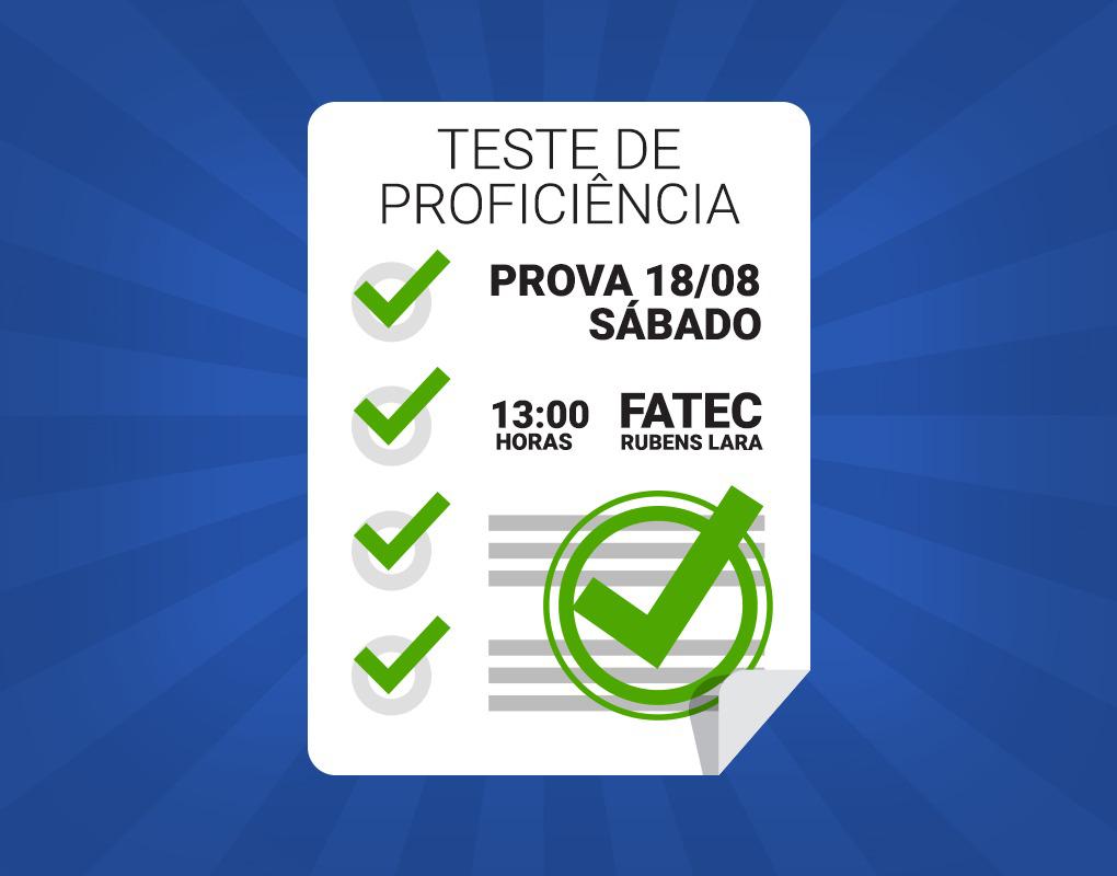 Notícia: Inscrição para teste de suficiência é aberto na Fatec.